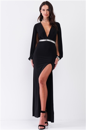 Black Deep Plunged V-Neck Long Slit Sleeve Rhinestone Decorated Waist And Wrist Side Slit Maxi Dress /3-2-1