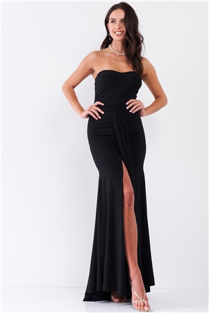 Black Heart Shaped Bust Strapless Deep Front Slip Draped Front Maxi Dress /3-2-1