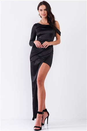 Black Glossy One-Shoulder Deep Side Slip Asymmetrical Wrap Collar Round Neck Maxi Dress /3-2-1