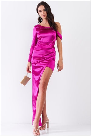 Fuchsia Glossy One-Shoulder Deep Side Slip Asymmetrical Wrap Collar Round Neck Maxi Dress /2-2-1