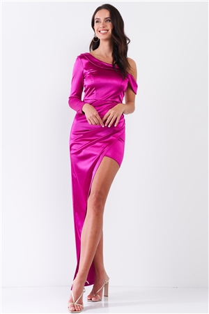 Fuchsia Glossy One-Shoulder Deep Side Slip Asymmetrical Wrap Collar Round Neck Maxi Dress /3-2-1
