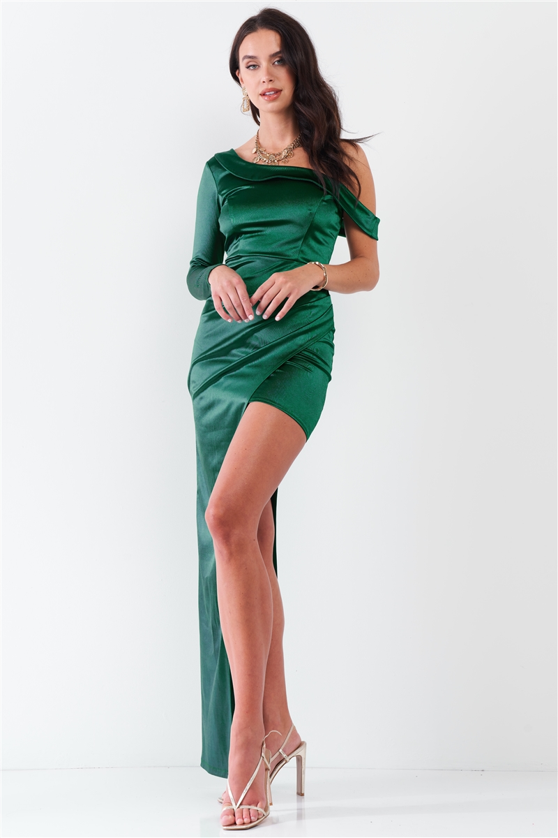 Hunter-Green Glossy One-Shoulder Deep Side Slip Asymmetrical Wrap Collar Round Neck Maxi Dress /3-2-1