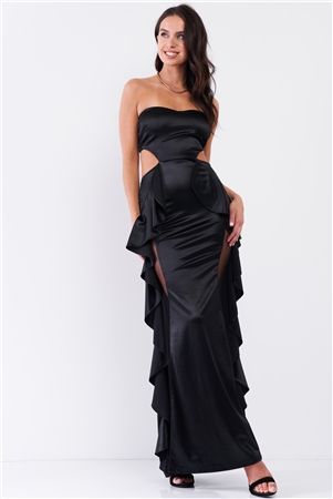 Black Satin Effect Sleeveless Sweetheart Neckline Open Back Ruffle Side Detail Maxi Dress /3-2-1