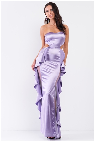 Lilac Satin Effect Sleeveless Sweetheart Neckline Open Back Ruffle Side Detail Maxi Dress /3-2-1