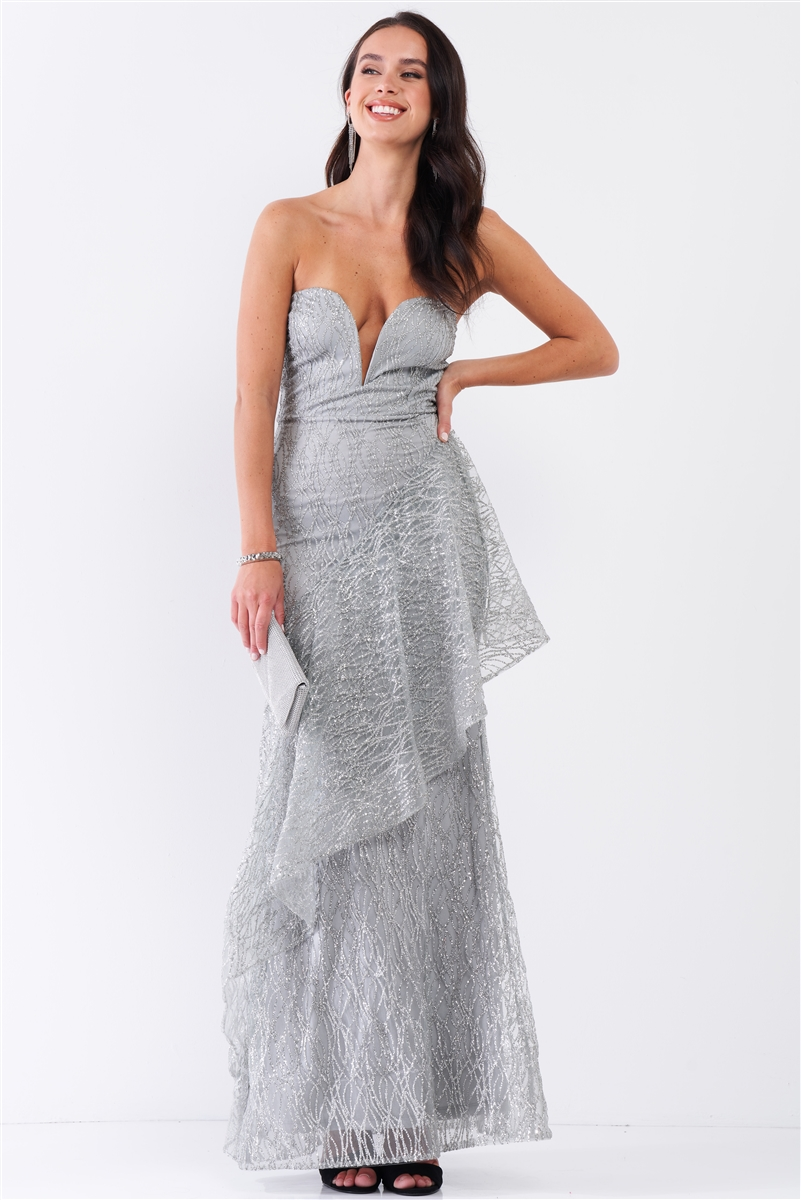 Frost Queen Silver Glitter Strokes Sleeveless Sweetheart Neckline Drape Trim Maxi Dress /3-2-1
