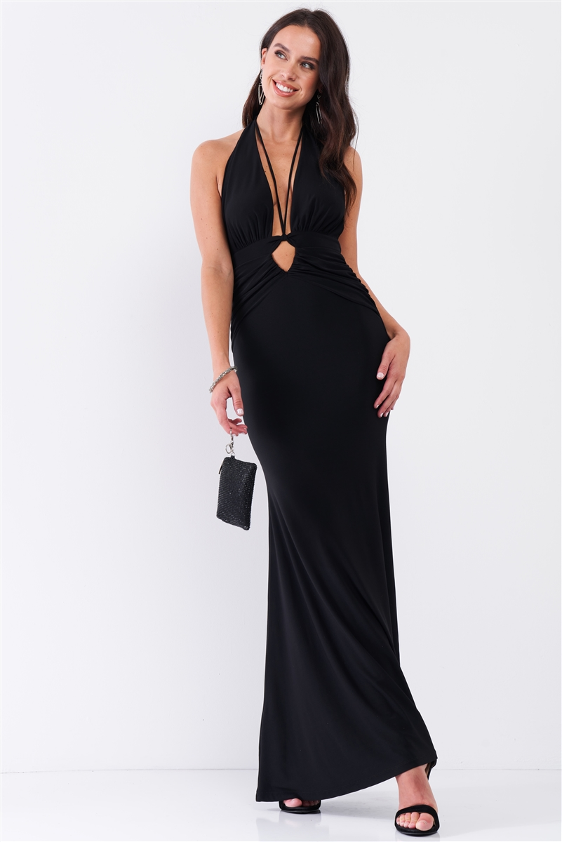 Black Halter Neck Front Cut Out Detail Ruched Self-Tie Long Straps Open Back Mermaid Maxi Dress /3-2-1