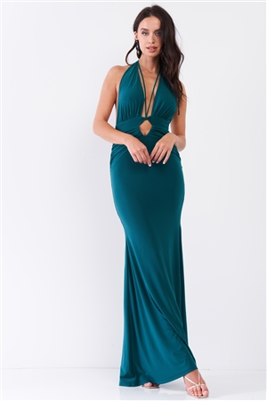 Emerald Halter Neck Front Cut Out Detail Ruched Self-Tie Long Straps Open Back Mermaid Maxi Dress /3-2-1