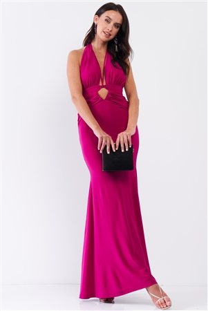 Magenta Halter Neck Front Cut Out Detail Ruched Self-Tie Long Straps Open Back Mermaid Maxi Dress /3-2-1
