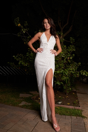 Pure White Sequin Sleeveless Deep Plunge Halter V-Neck Side Slit Detail Slim Maxi Dress /3-2-1