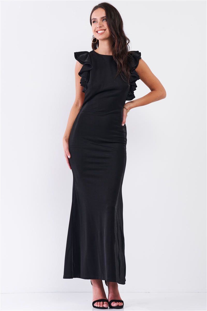 Black Sleeveless Cut-Out Armholes Ruffle Trim Fitted Maxi Dress /3-2-1