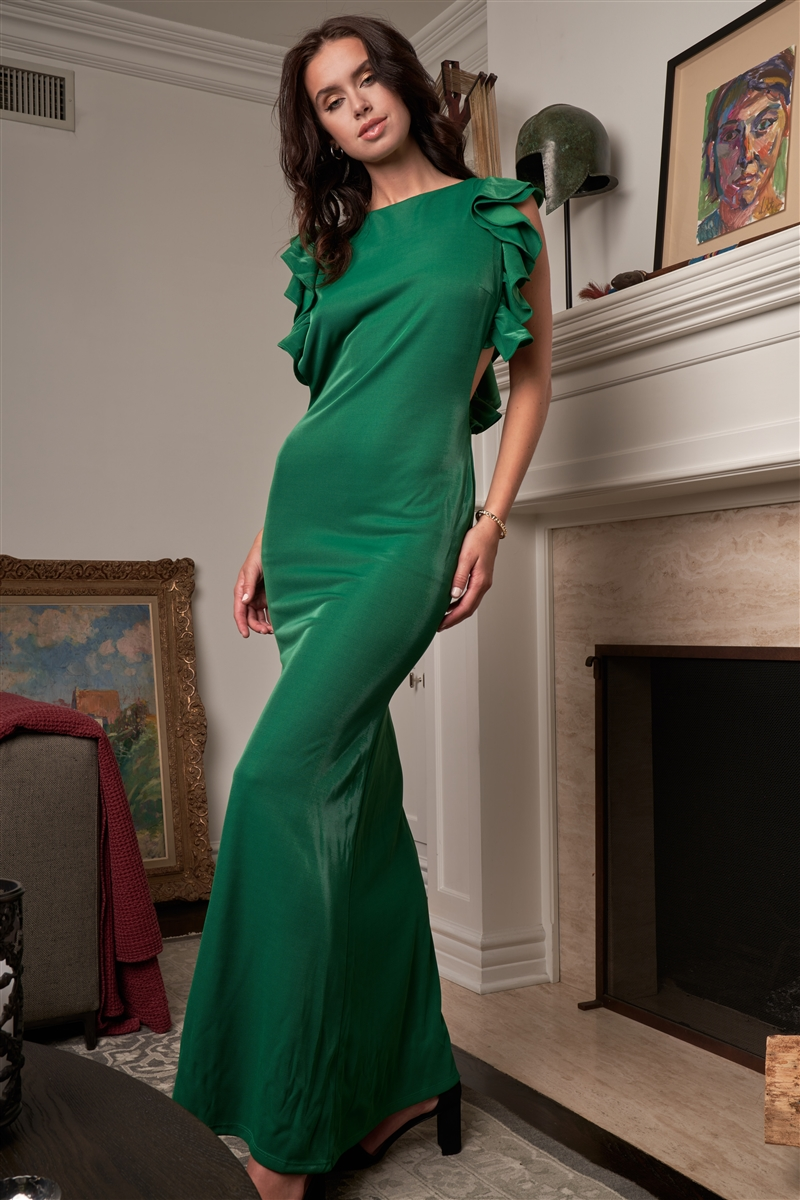 Kelly Green Sleeveless Cut-Out Armholes Ruffle Trim Fitted Maxi Dress /3-2-1