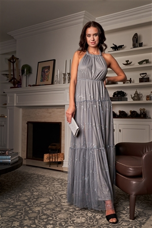 Mystic Grey Sleeveless Halter Neck Open Back Holographic Glitter Splashes Detail Tulle Gown /3-2-1