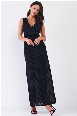 Navy Black Striped Sleeveless V-Neck Velvet Waistband Detail Fitted Maxi Dress /3-2-1