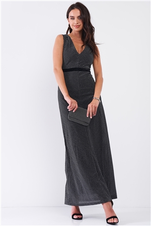 Black Silver Striped Sleeveless V-Neck Velvet Waistband Detail Fitted Maxi Dress /3-2-1