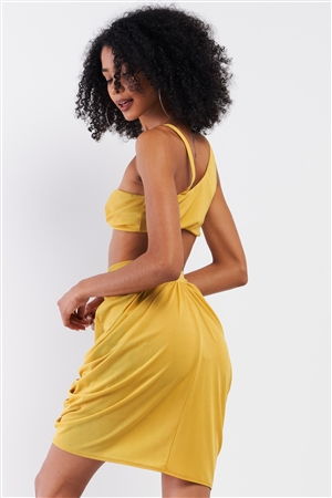 Pineapple Yellow Sleeveless Circular Barbell Ring Detail Asymmetrical Bustier Top & High Waisted Gathered Tulip Skirt Set /3-2-1