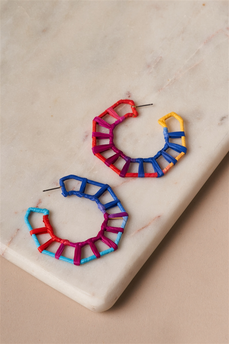 Geo Octagon Raffia Multi Colored Hoop Earrings