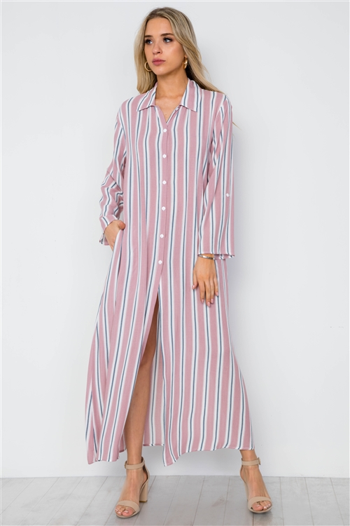 Mauve Multi Stripe Button Down Maxi Blouse Shirt