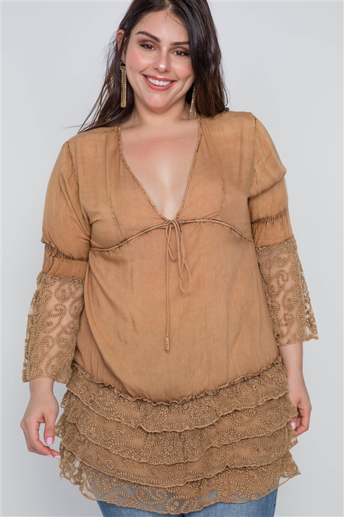Boho Mocha Plus Size Lace Hem V Neck Tunic Top