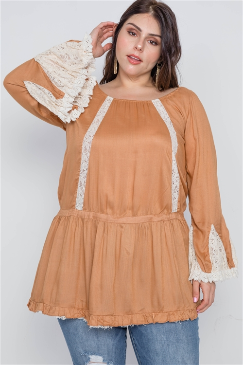 Plus Size Mocha Bell Sleeves Boho Top