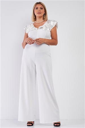 Junior Plus Ivory Sleeveless Satin Ruffle Shoulder Detail V-Neck Wide Leg Jumpsuit /1-1-1