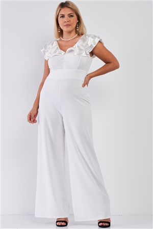Junior Plus Ivory Sleeveless Satin Ruffle Shoulder Detail V-Neck Wide Leg Jumpsuit /1-2