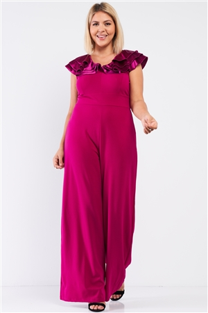 Junior Plus Berry Pink Sleeveless Satin Ruffle Shoulder Detail V-Neck Wide Leg Jumpsuit /1-1-1