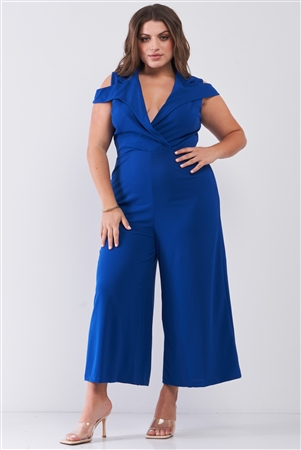 Junior Plus Royal Blue Sleeveless Collared Plunging V-Neck Wide Leg Jumpsuit