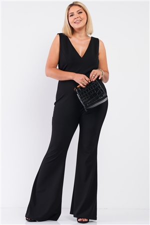 Junior Plus Black Sleeveless Deep Plunge V-Neck Wide Leg Jumpsuit /1-1-1