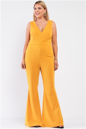 Junior Plus Mustard Sleeveless Deep Plunge V-Neck Wide Leg Jumpsuit /1-1-1