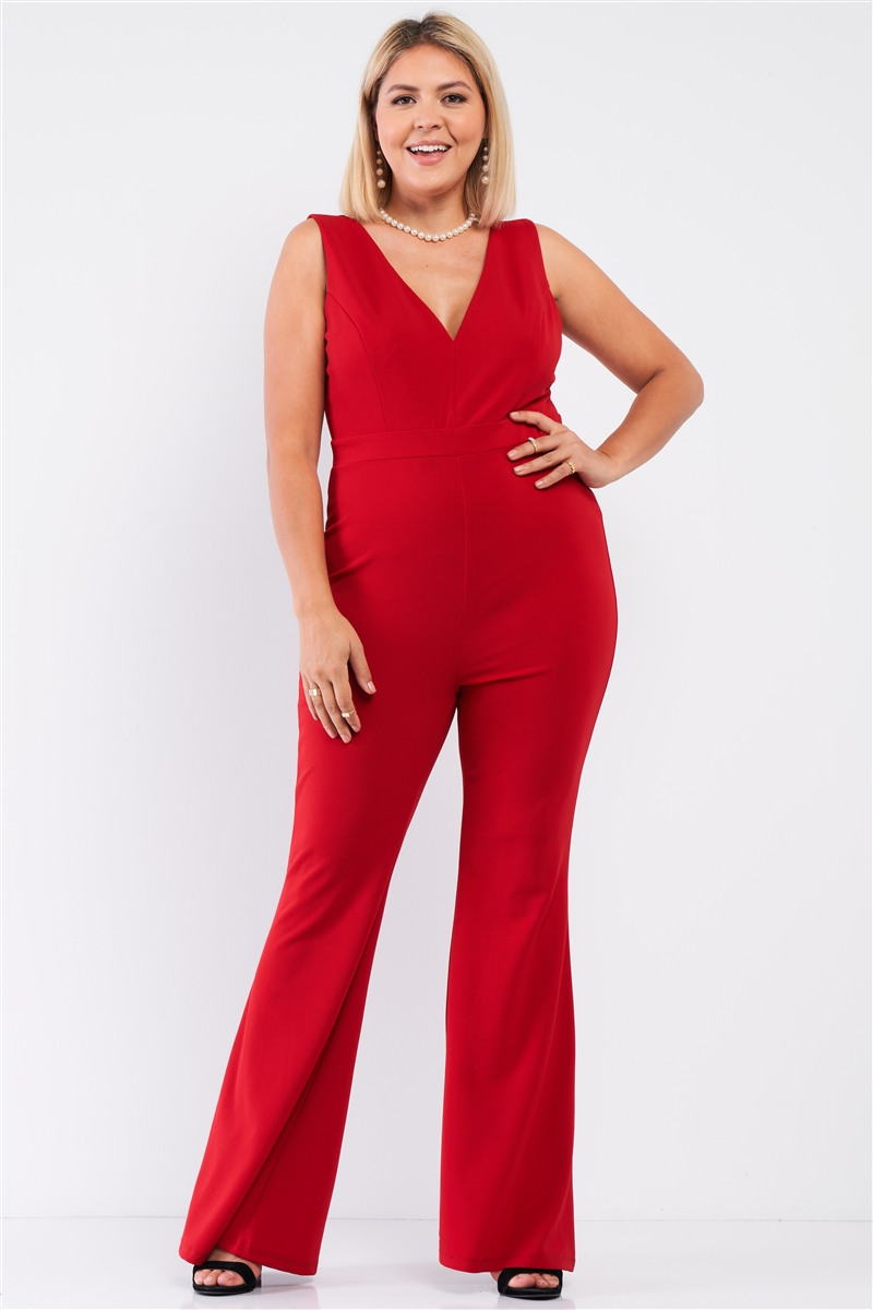 Junior Plus Red Sleeveless Deep Plunge V-Neck Wide Leg Jumpsuit /1-1-1