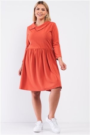 Junior Plus Ginger Pleated Preppy Fit & Flare Long Sleeve Asymmetrical Peter Pan Collar Mini Dress /2-2-2