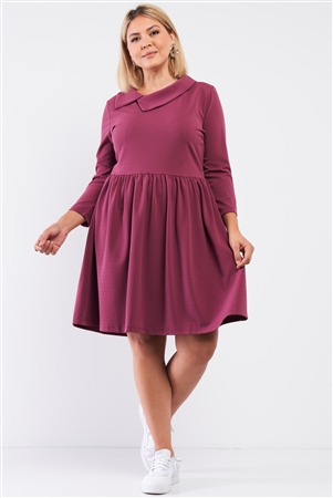 Junior Plus Mauve Pleated Preppy Fit & Flare Long Sleeve Asymmetrical Peter Pan Collar Mini Dress /2-2-2