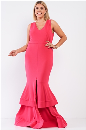 Junior Plus Coral-Pink Sleeveless V-Neck Front Slip Layered Flare Hem Maxi Mermaid Dress /1-1-1