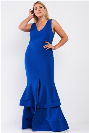Junior Plus Royal Blue Sleeveless V-Neck Front Slip Layered Flare Hem Maxi Mermaid Dress /1-1-1