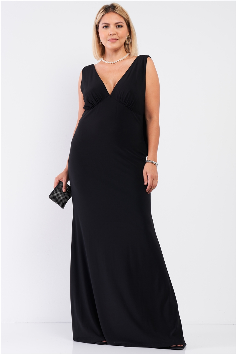 Junior Plus Black Draped Back V-Neck Sleeveless Maxi Dress /1-1-1