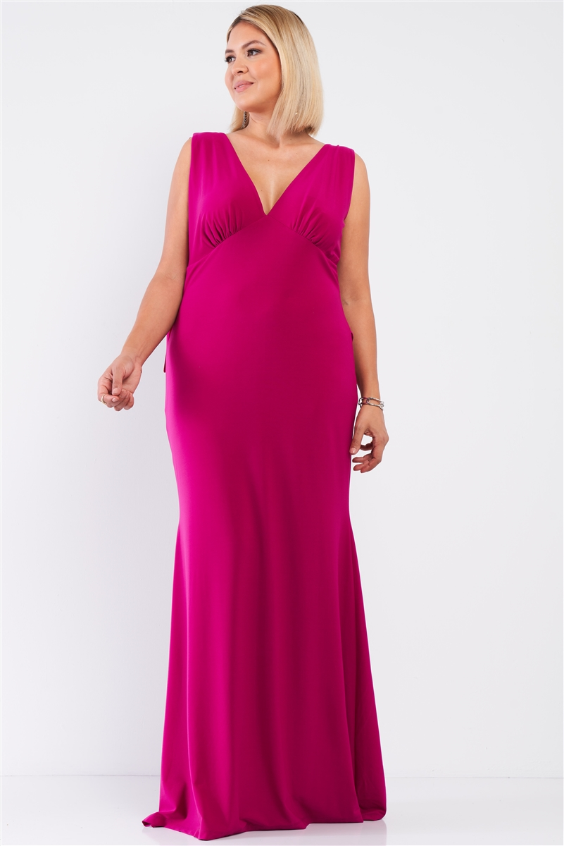 Junior Plus Very-Berry Draped Back V-Neck Sleeveless Maxi Dress /1-1-1