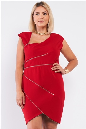 Junior Plus Red Asymmetrical Neck Cross Zipper Front Detail Mini Dress /1-1-1