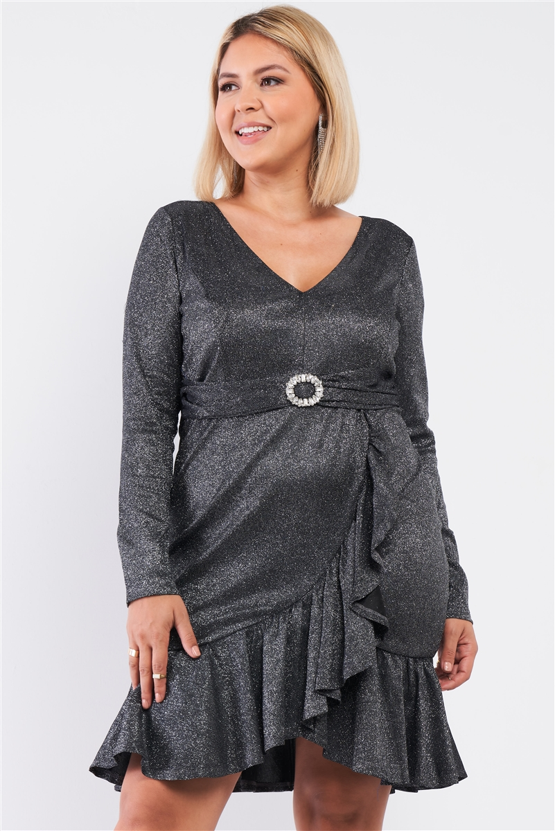 Junior Plus Black Silver Long Sleeve V-neck Asymmetrical Wrap Flare Hem Belt Detail Oval Rhinestone Buckle Mini Dress /1-1-1