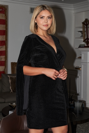 Junior Plus Size Black Glitter Strands Velvet Plunging Wrap V-Neck Split Flared Long Sleeve Detail Mini Dress /1-1-1