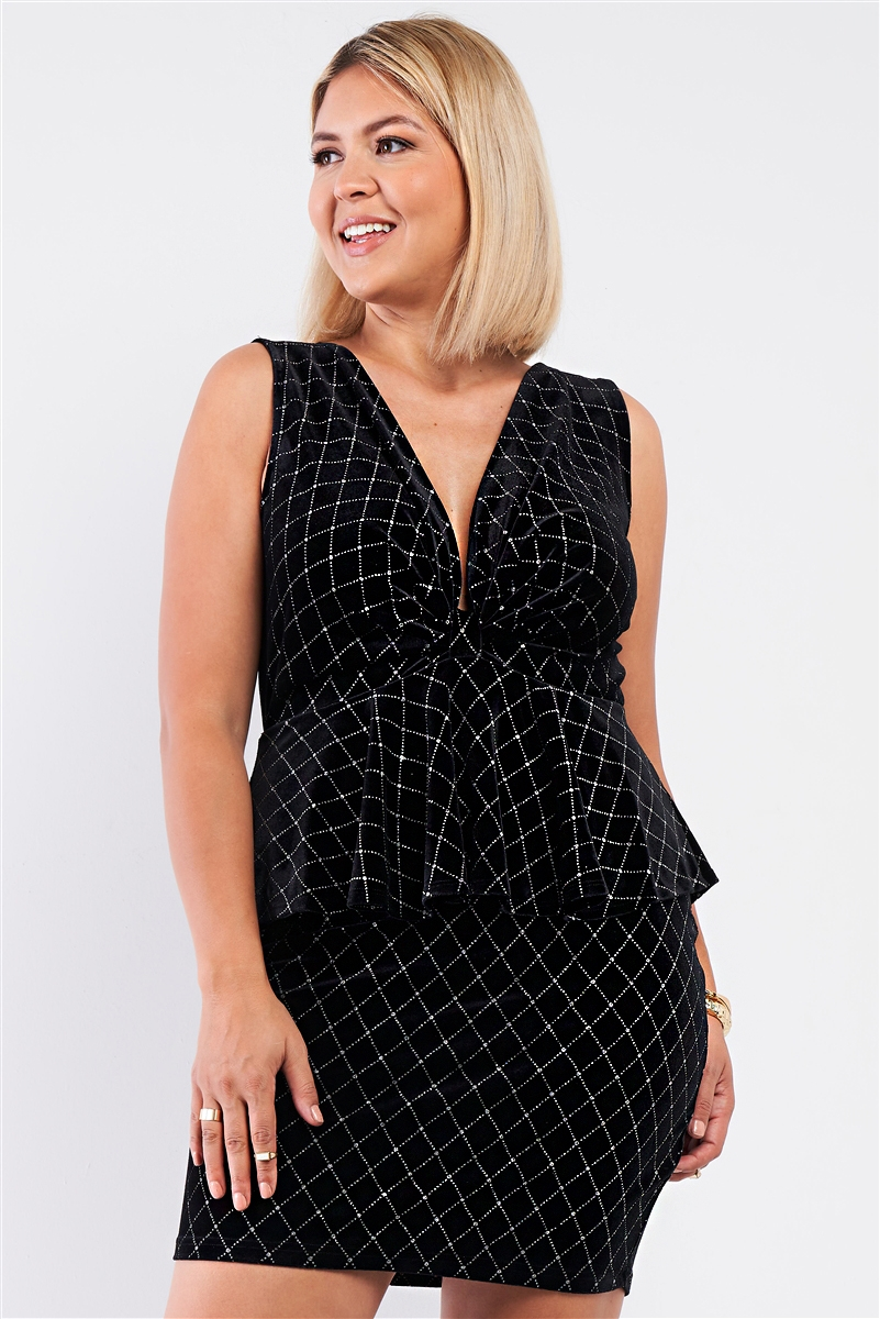 Junior Plus Black Quilted Glitter Print Sleeveless Bow Gathered Plunging V-Neck Flare Hem Fitted Mini Dress /1-1-1