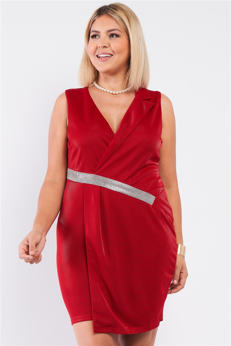 Junior Plus Deep Red Sleeveless V-Neck Asymmetrical Wrap Rhinestones Detail Fitted Mini Blazer Dress /1-1-1