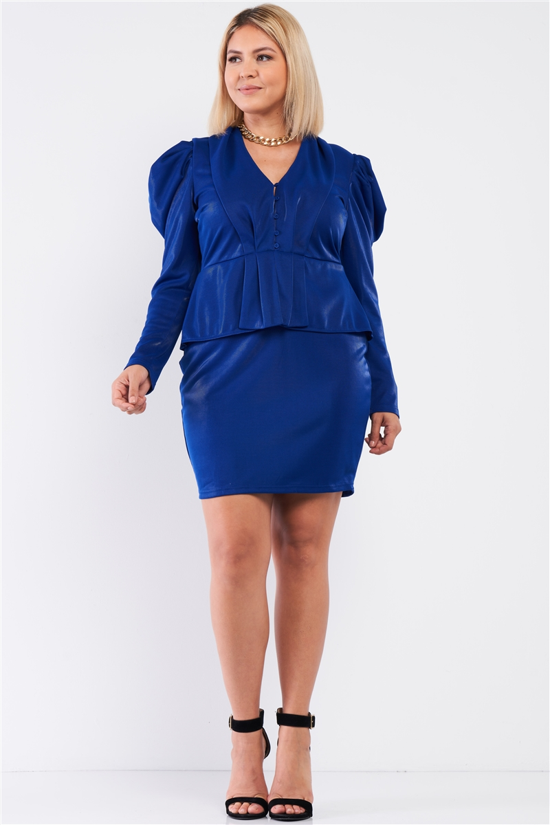 Junior Plus Royal Blue Long Sleeve Victorian Steampunk Inspired V-Neck Button Front Pleated Detail Mock Blazer Fitted Dress /1-1-1