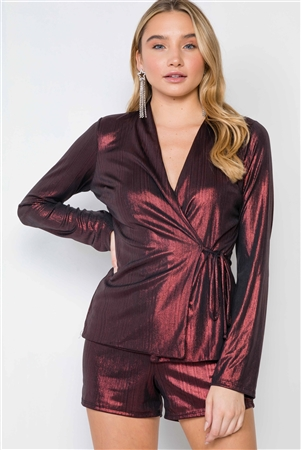Burgundy Metallic Two Piece Top Short Set