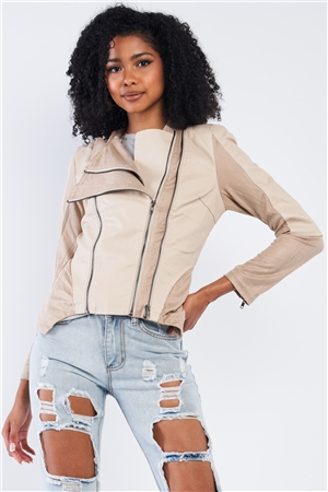 Beige Suede & Vegan Leather Moto Jacket /2-2-2
