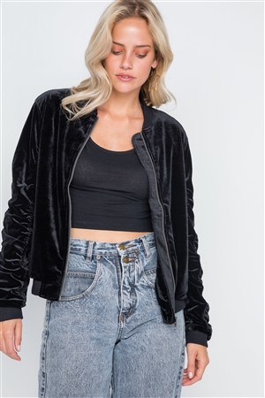 Black Velvet Long Sleeve Bomber Jacket