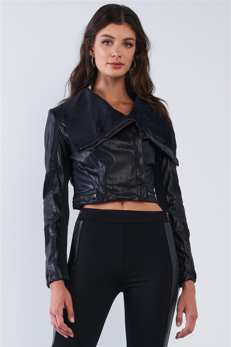 Black Vegan Leather Structured Oblique Front Zipper Double Sided Suede Lapel Collar Cropped Jacket /2-2-2