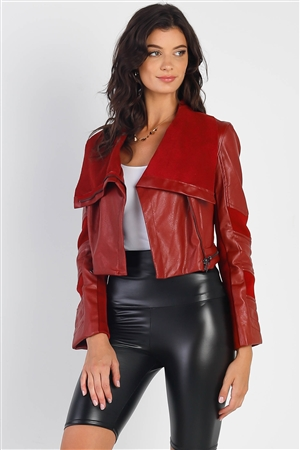 Burgundy Red Vegan Leather Structured Oblique Front Zipper Double Sided Suede Lapel Collar Cropped Jacket /1-2-2