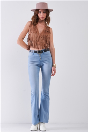 Wilder Than West Tan Suede Sleeveless V-Neck Fringe Trim Decorated Detail Crop Vest /1-1-2-1