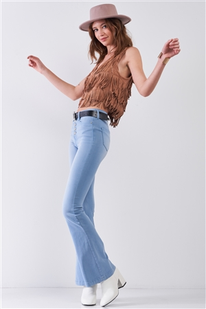 Wilder Than West Tan Suede Sleeveless V-Neck Fringe Trim Decorated Detail Crop Vest /1-2-2-1