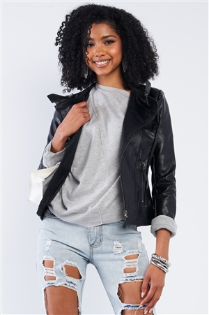 Black Vegan Leather Multiple Zipper Accent Biker Jacket /2-2-2